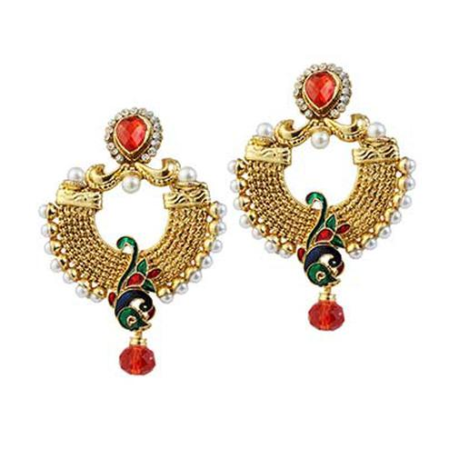 Austrian Stone Pearl Red & Green Meenakari Peacock Design Gold Finish Dangle Earrings