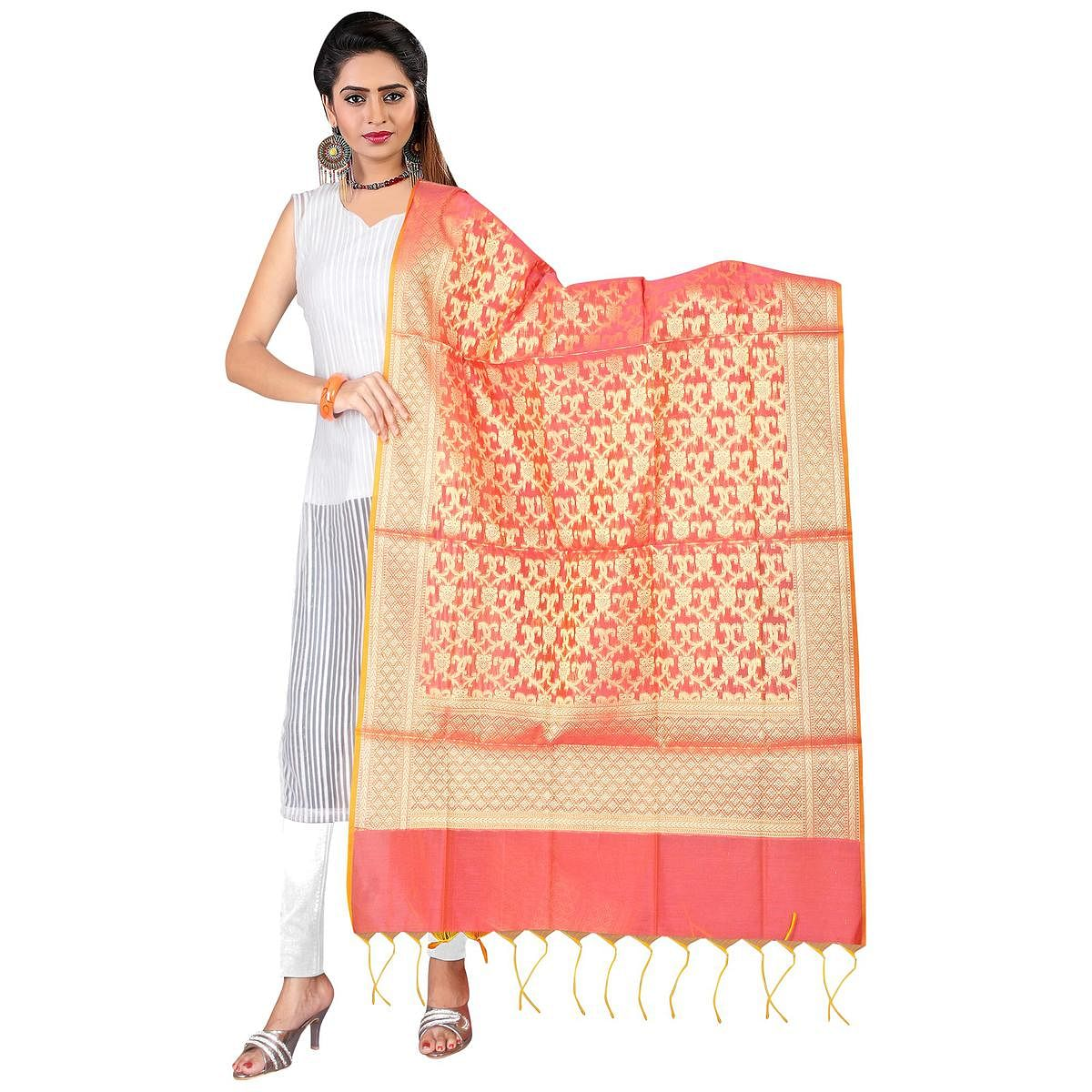 Pretty Pink Colored Banarasi Silk Dupatta