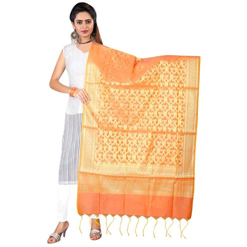 Trendy Orange Colored Banarasi Silk Dupatta