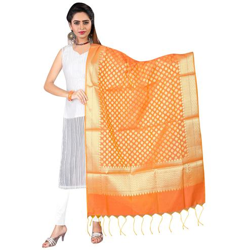 Gleaming Orange Colored Banarasi Silk Dupatta
