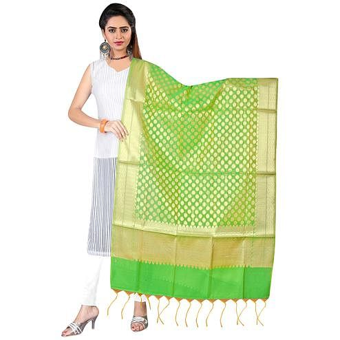 Blooming Green Colored Banarasi Silk Dupatta