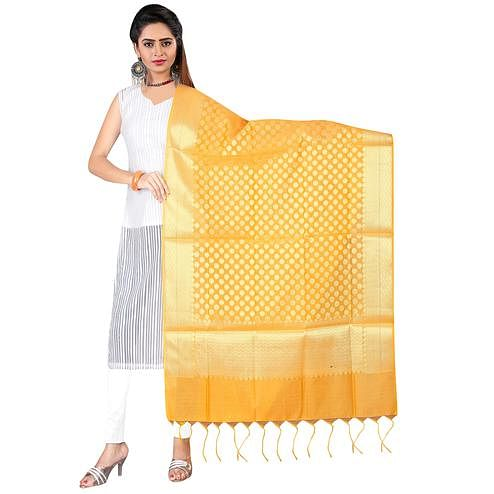 Unique Mustard Yellow Colored Banarasi Silk Dupatta
