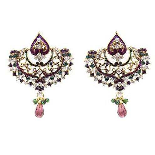 Purple & Green Austrian Stone Meenakari Gold Finish Chandbali Earrings