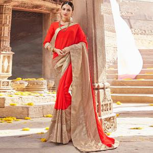 Elegant Red & Beige Colored Party Wear Embroidered Art Silk-Net Saree