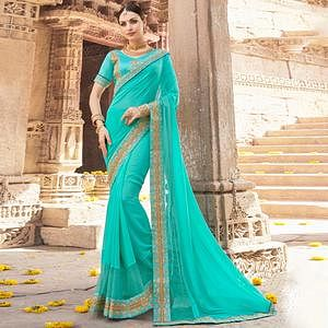 Unique Light Blue Colored Party Wear Embroidered Georgette Saree