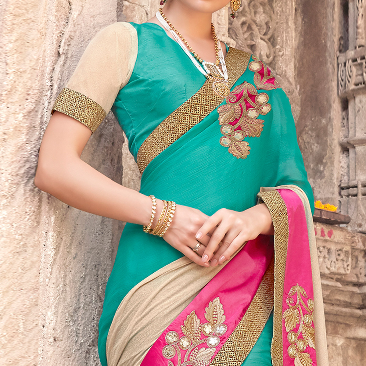 Alluring Multi Colored Party Wear Embroidered Art Silk Saree