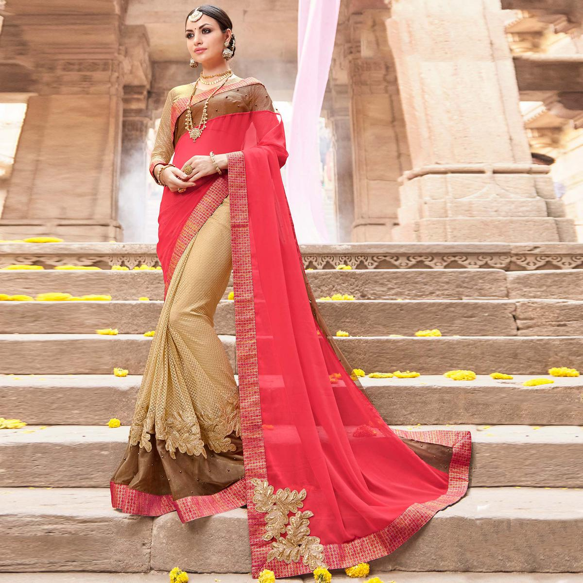 Gleaming Beige & Pink Colored Party Wear Embroidered Georgette Saree