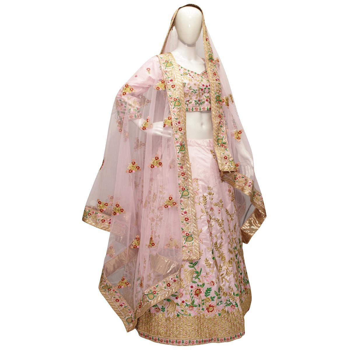 Adorning Lotus Pink Colored Embroidered Work Wedding Wear Silk Lehenga Choli