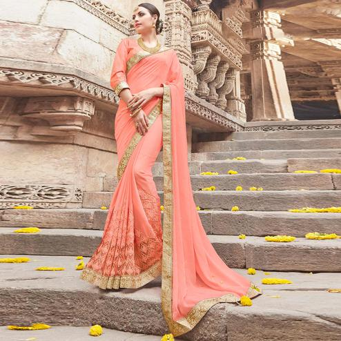 Excellent Peach Colored Party Wear Embroidered Chiffon Saree