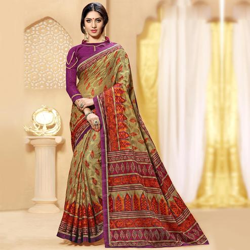 Opulent Beige Colored Casual Printed Brasso Saree