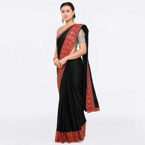 Impressive Black Colored Party Wear Embroidered Silk Saree
