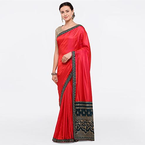 Starring Pink Colored Party Wear Embroidered Silk Saree