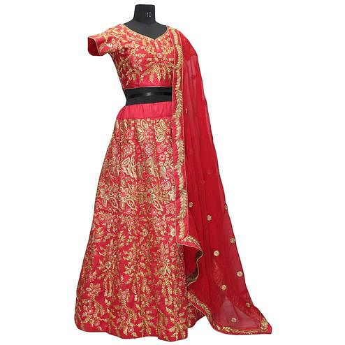 Awesome Red Colored Embroidered Work Wedding Wear Silk Lehenga Choli