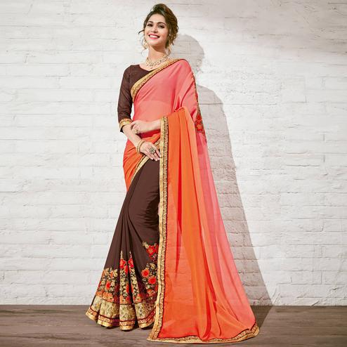 Radiant Brown & Orange Colored Party Wear Embroidered Half-Half Georgette Saree