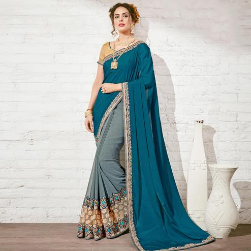 Groovy Grey & Teal Blue Colored Party Wear Embroidered Half-Half Georgette Saree