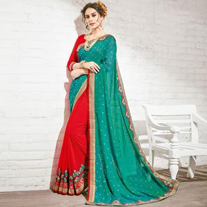Alluring Red & Teal Blue Colored Party Wear Embroidered Half-Half Georgette Saree