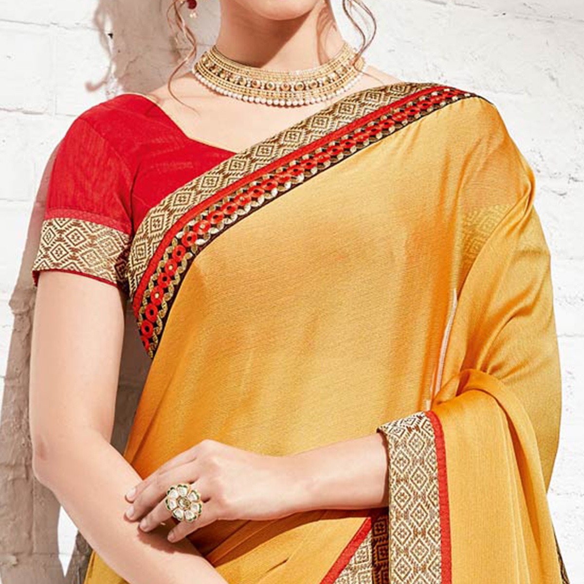 Pretty Brown & Yellow Colored Party Wear Embroidered Half-Half Georgette Saree