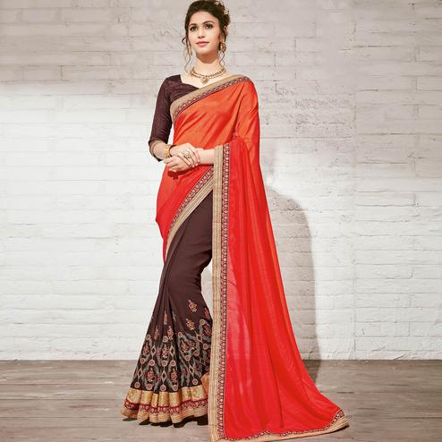 Graceful Brown & Orange Colored Party Wear Embroidered Half-Half Georgette Saree