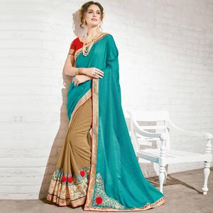 Classy Beige & Teal Blue Colored Party Wear Embroidered Half-Half Georgette Saree