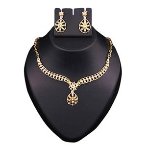 Austrian Stone Gold Finish Necklace Set