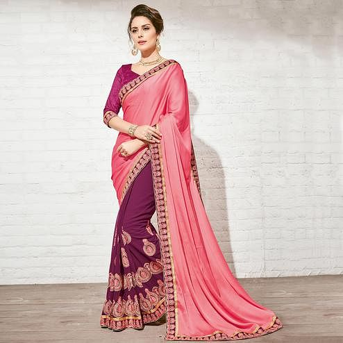 Attractive Magenta & Pink Colored Party Wear Embroidered Half-Half Georgette Saree