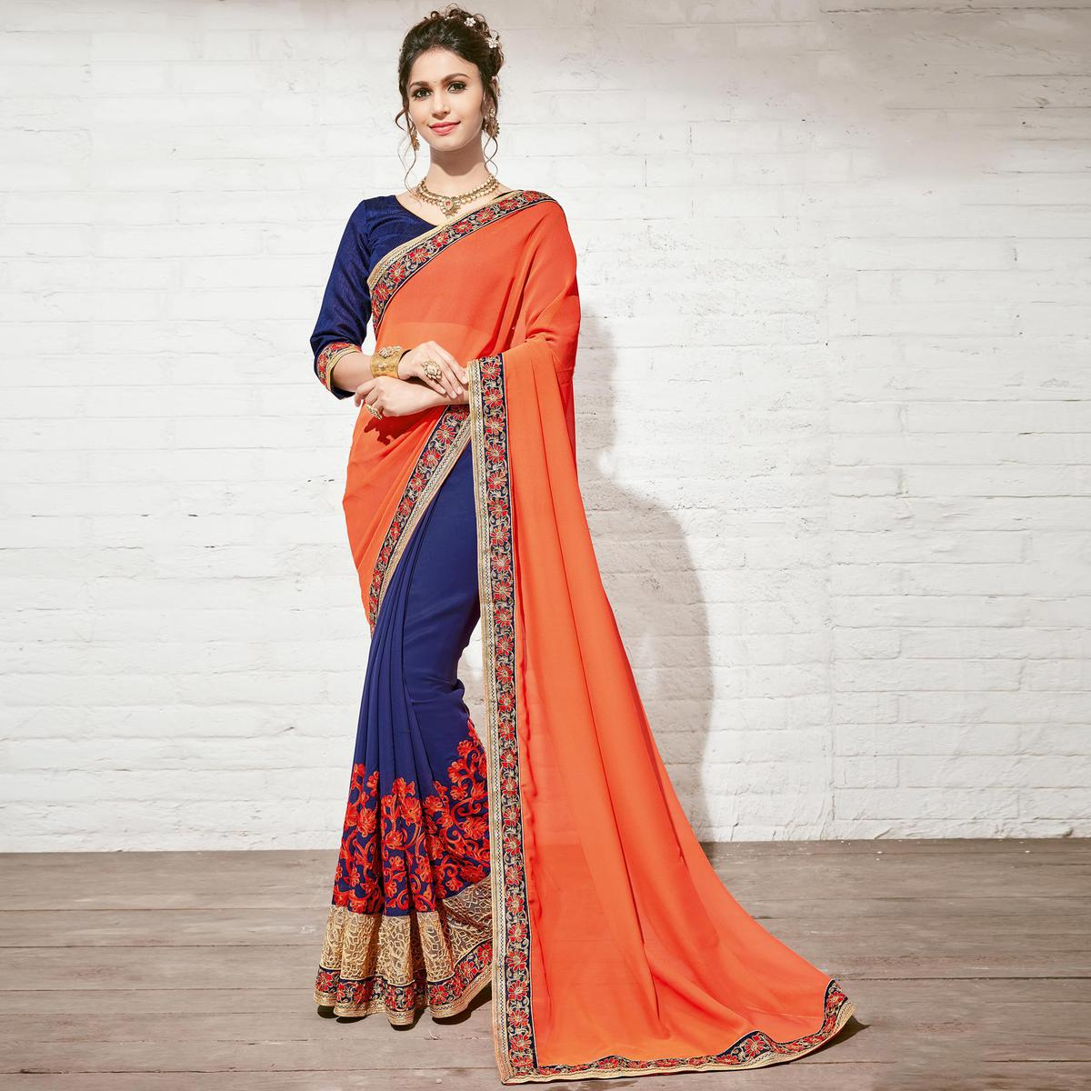 Dazzling Blue & Orange Colored Party Wear Embroidered Half-Half Georgette Saree