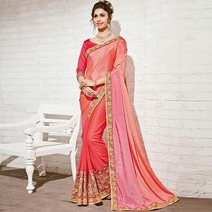 Ethnic Peach & Pink Colored Party Wear Embroidered Half-Half Georgette Saree