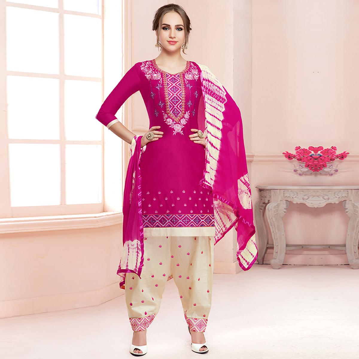 Amazing Rani Pink Colored Partywear Embroidered Cotton Dress Material