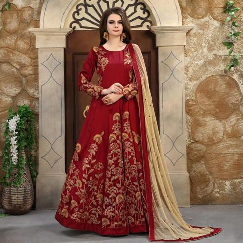 Gleaming Red Colored Partywear Embroidered Mulberry Silk Anarkali Suit