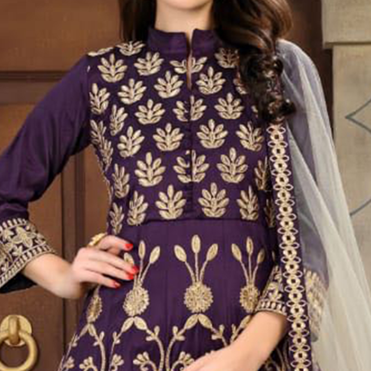 Beautiful Purple Colored Partywear Embroidered Mulberry Silk Anarkali Suit