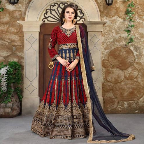 Attractive Red-Blue Colored Partywear Embroidered Mulberry Silk Anarkali Suit