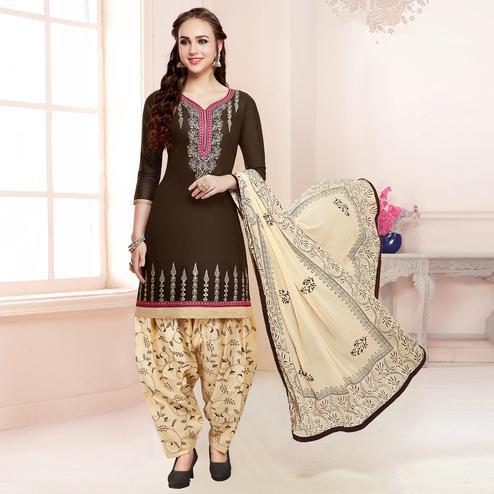 Classy Dark Brown Colored Partywear Embroidered Cotton Dress Material
