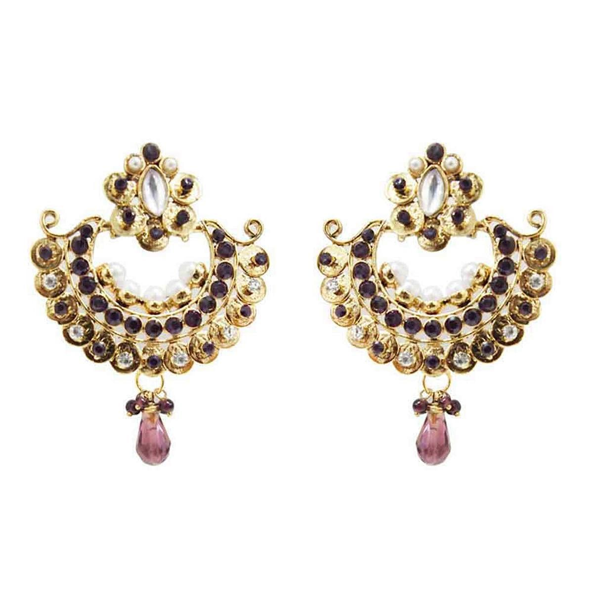 Kundan Purple Austrian Stone Gold Finish Chandbali Dangle Earrings