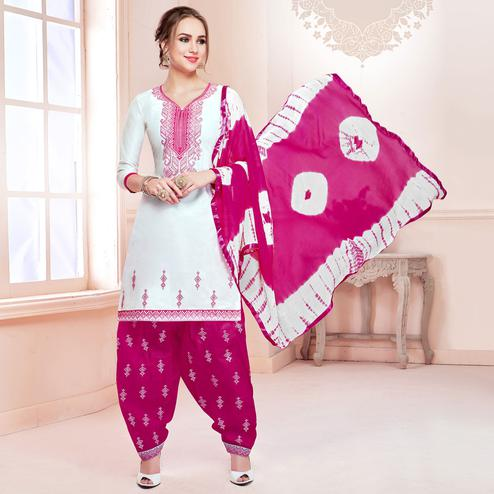 Appealing White Colored Partywear Embroidered Cotton Dress Material