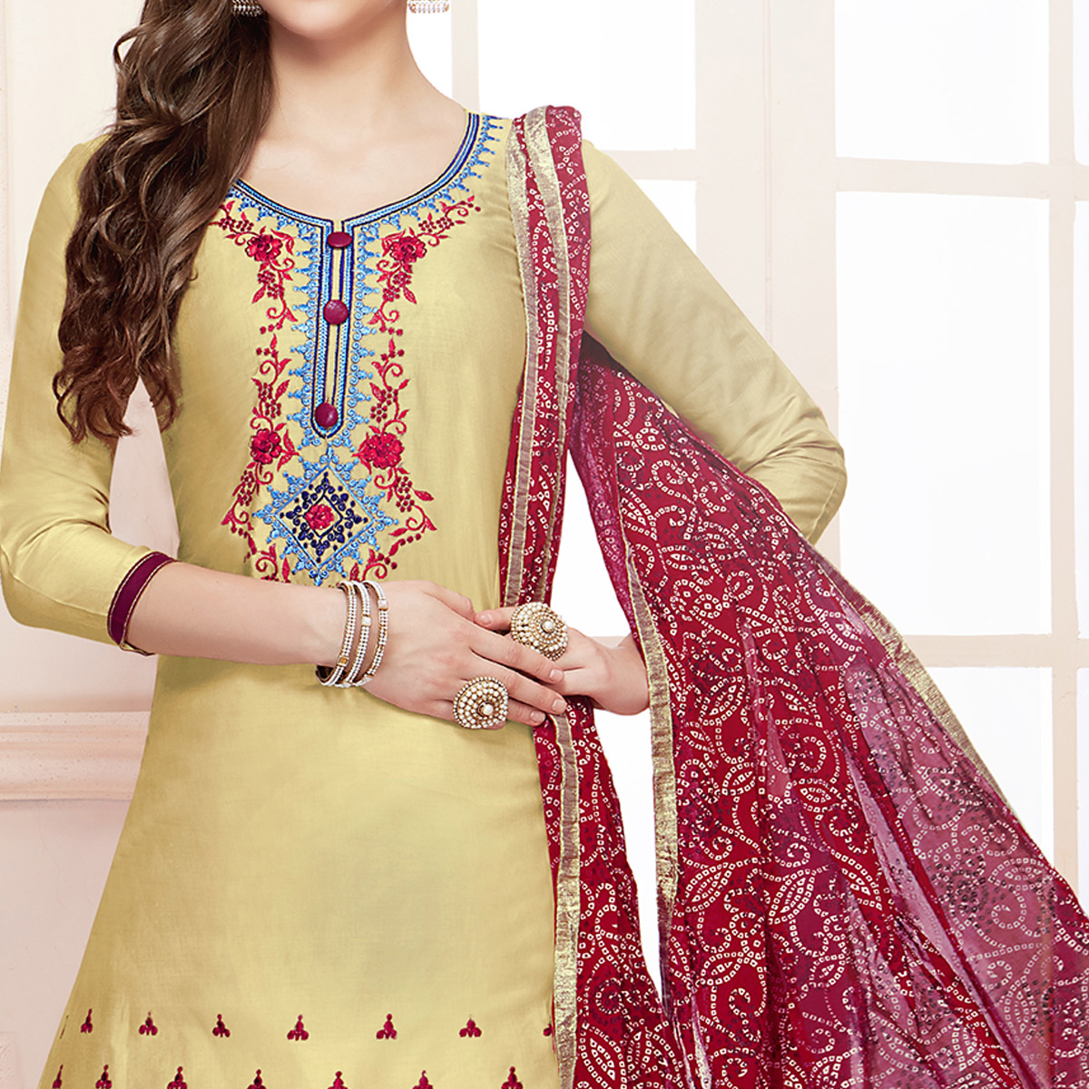 Innovative Light Yellow Colored Partywear Embroidered Cotton Dress Material