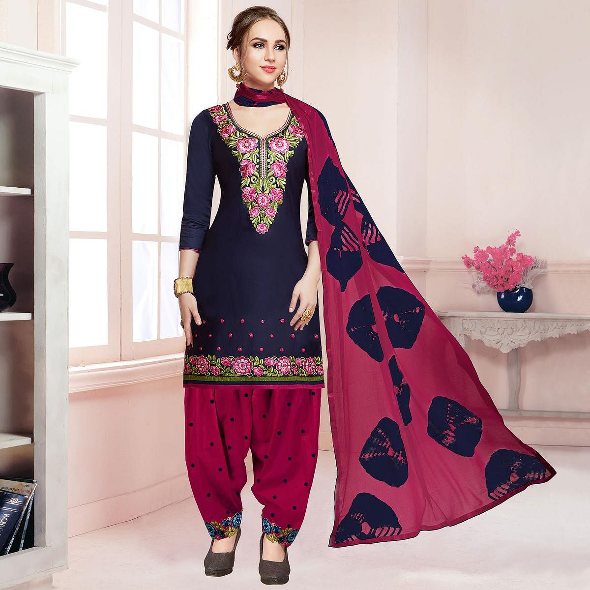 Magnetic Navy Blue Colored Partywear Embroidered Cotton Dress Material