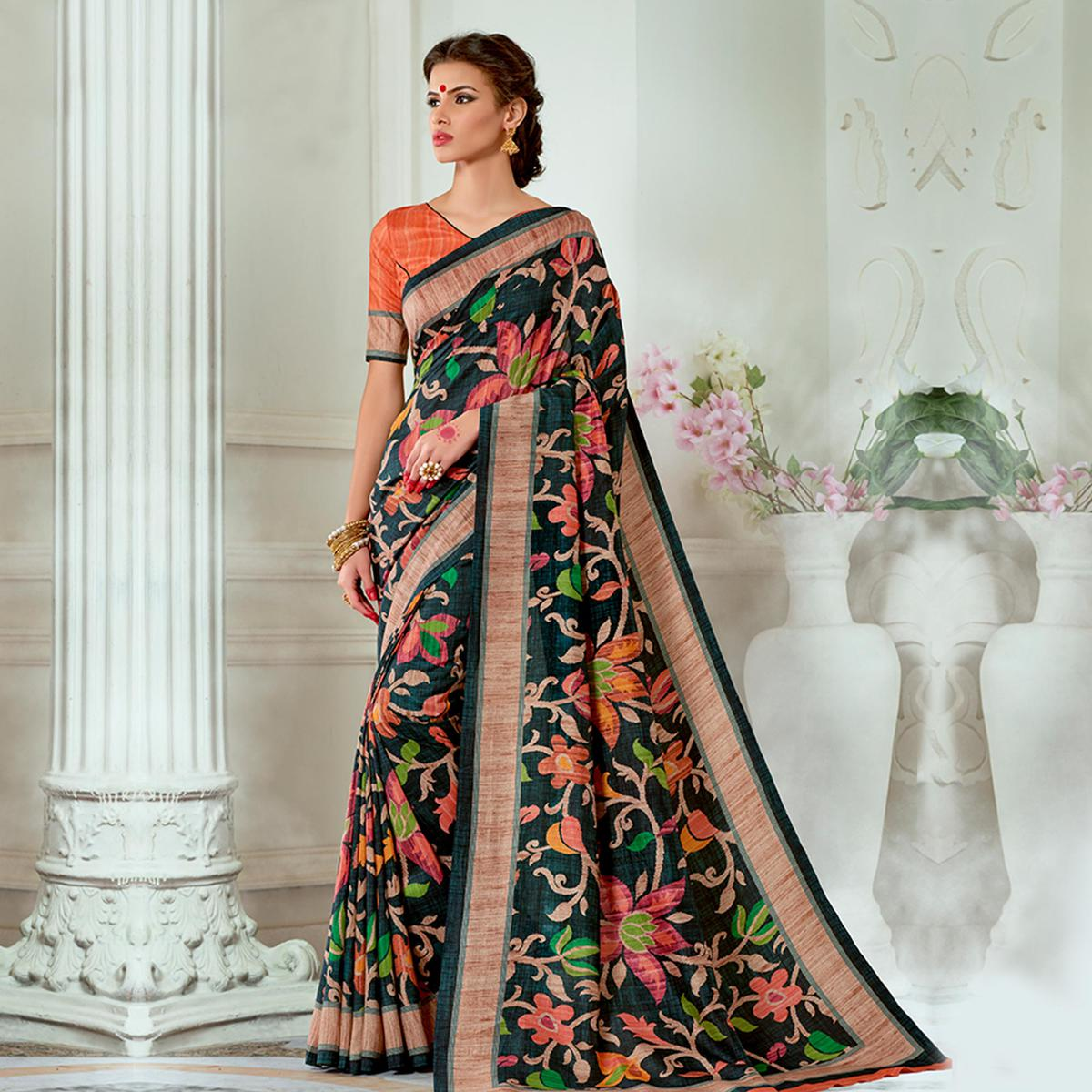 Intricate Black Colored Casual Wear Digital Printed Tussar Silk Saree