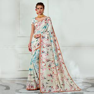 Desirable Cream Colored Casual Wear Digital Printed Tussar Silk Saree