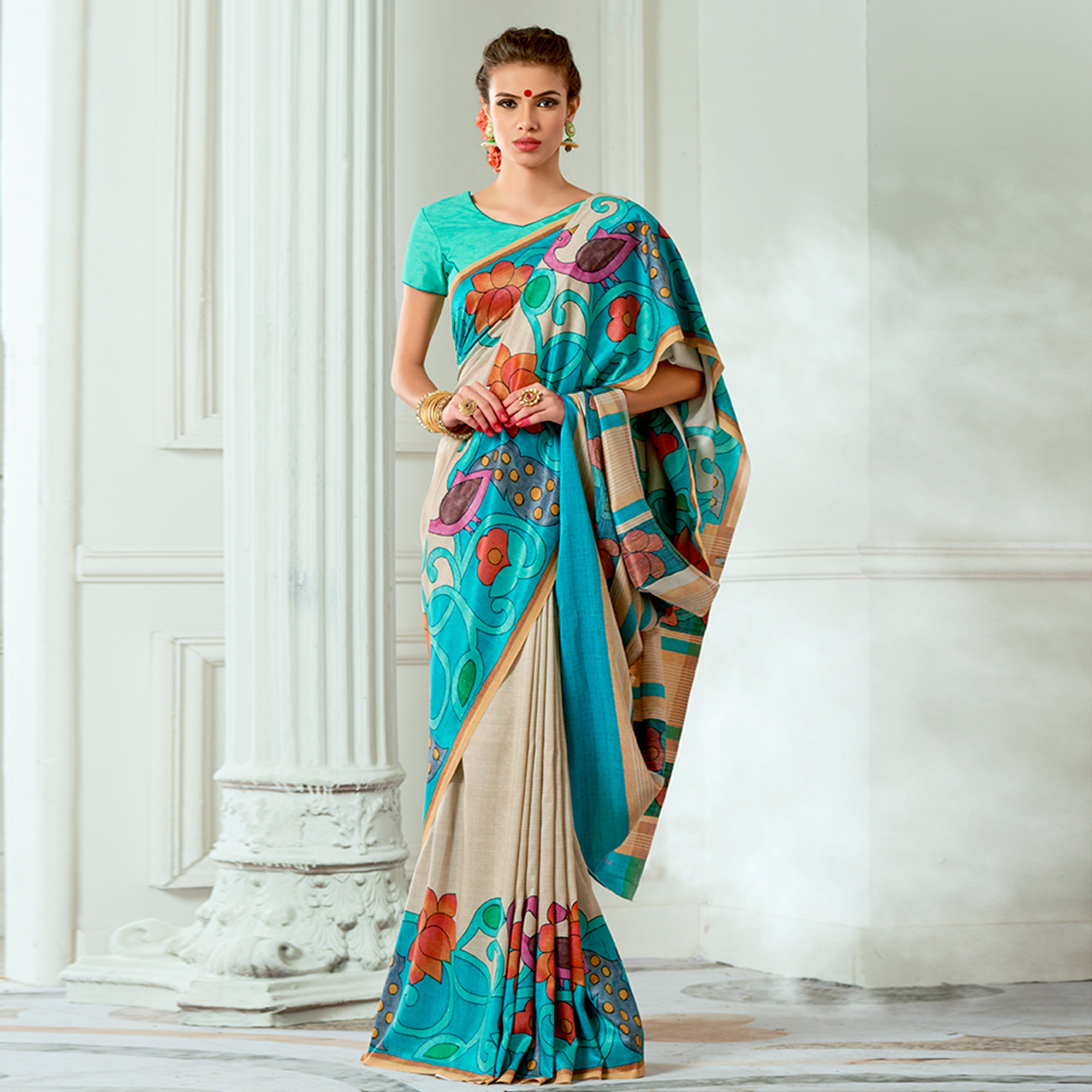 Sophisticated Beige Colored Casual Wear Digital Printed Tussar Silk Saree
