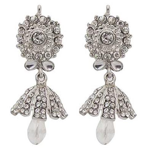 Kundan White Austrian Stone Rhodium Finish Jhumki Earrings