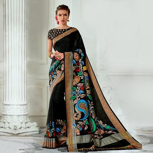 Demanding Black Colored Casual Wear Digital Printed Tussar Silk Saree