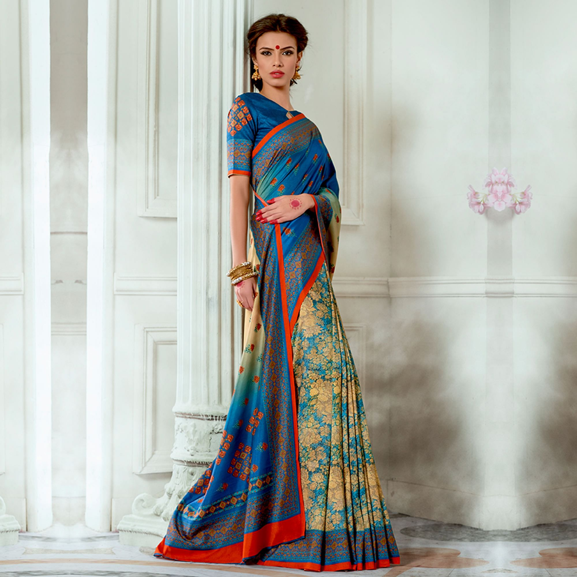 Pleasant Blue Colored Casual Wear Digital Printed Tussar Silk Saree