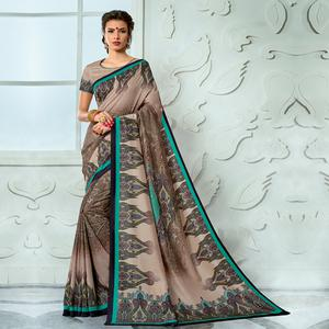 Unique Beige - Brown Colored Casual Wear Digital Printed Tussar Silk Saree