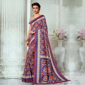 Refreshing Blue Colored Casual Wear Digital Printed Tussar Silk Saree