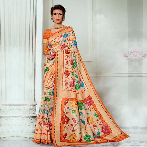 Elegant Light Peach Colored Casual Wear Digital Printed Tussar Silk Saree