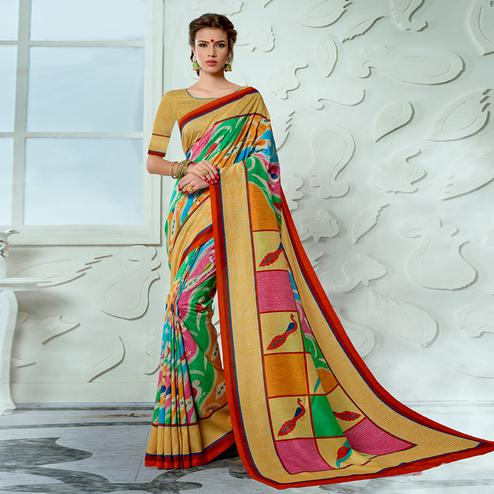 Alluring Multi Colored Casual Wear Digital Printed Tussar Silk Saree