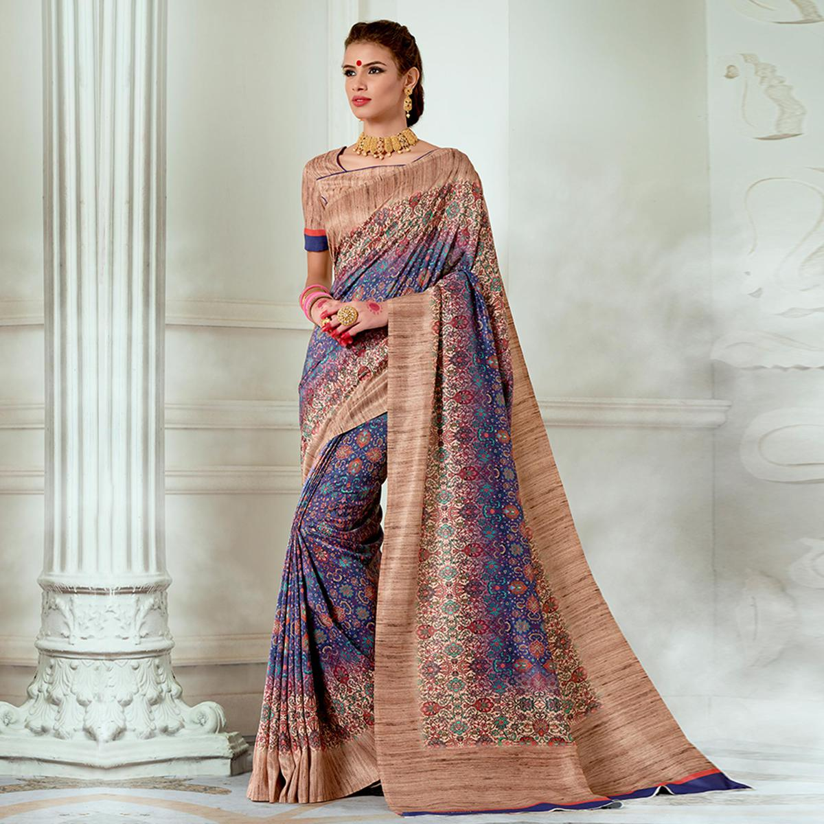 Radiant Blue - Beige Colored Casual Wear Digital Printed Tussar Silk Saree