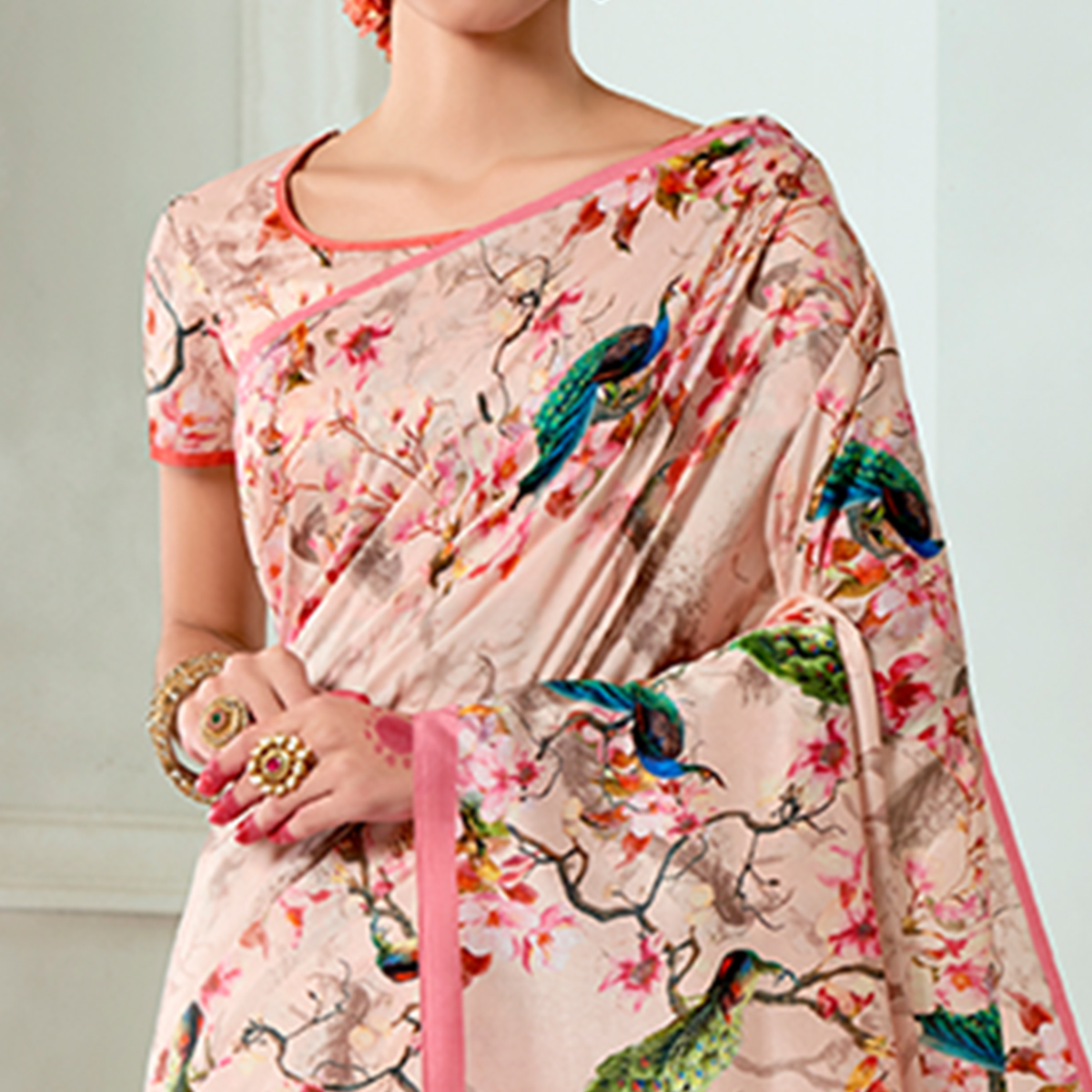 Sensational Soft Pink Colored Casual Wear Digital Printed Tussar Silk Saree