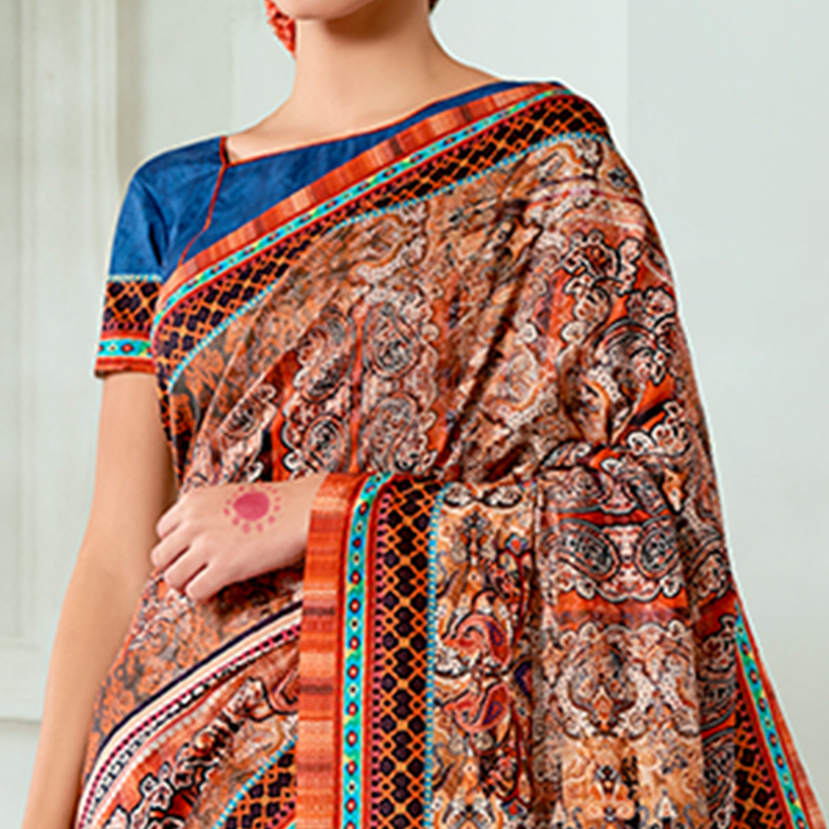 Opulent Blue - Brown Colored Casual Wear Digital Printed Tussar Silk Saree