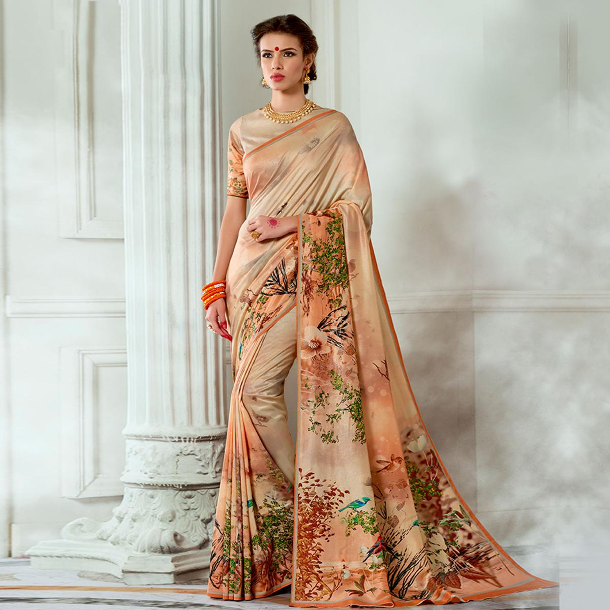 Dazzling Beige Colored Casual Wear Digital Printed Tussar Silk Saree